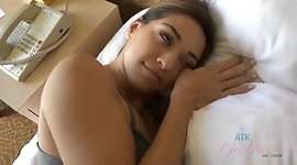 After a ball massage, you creampie Lara's hairy pussy
