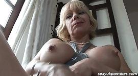 British Milf Jane Bond frigs her fanny in the study