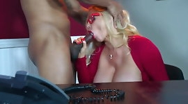 busty blonde MILF takes BBC