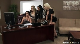 Four Hot big-boob office sluts fuck boss' big-dick in office