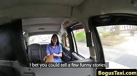 Real nurse fucked on public taxi security cam