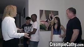 Her 1st Creampie Gangbang