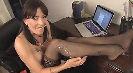 cum on teacher sexy black stockings D10