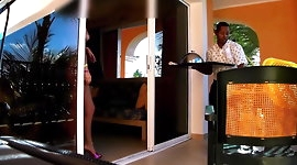 girl flashes for a room service man