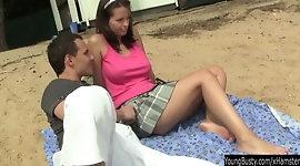 Busty brunette teen Rita gets fucked outdoors