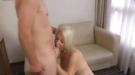 Cougar fucked by young delivery guy
