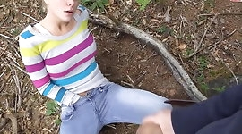 Blonde Gets A Big Facial In The Woods