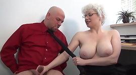 Brutal femdom handjob in office from busty MILF