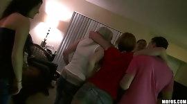 Mofos - Three HOT & horny college girls start an orgy