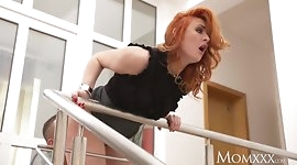 MOM Teen stud fucks redhead MILF and cums on her face