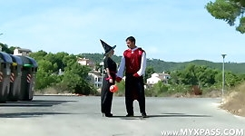 The nasty witch fucked by two guys in the woods