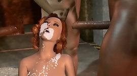3D Monster fucking and sewer interracial gangbang