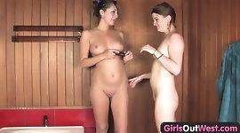 Girls Out West - Australian lesbian arsehole gets toyed hard