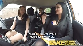 Fake Driving School squirting orgasm busty milf