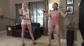 slave takes pain from the whip by mistres Vanessa