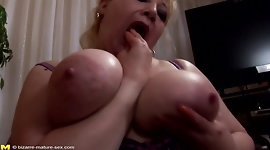 Big busty mom gets DOUBLE fisting and foot in cunt