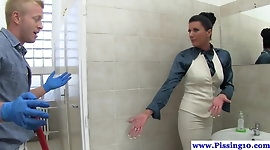 Classy pissing euro babe railed in restroom