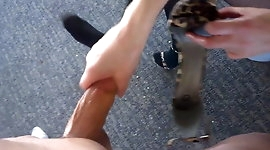 Shoe girl cum