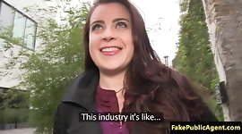Fooled bigtitted european gets cum on tits by fake agent